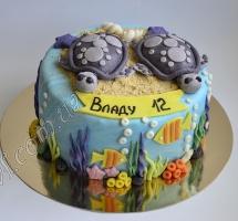 торт мастичный для детей черепашки