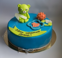торт мастичный для детей мишка с игрушками
