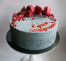 кремовый торт с гранатом и макароном