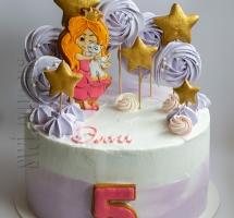 """Кремовый торт с медовыми пряниками """"Принцесса и единорог"""""""