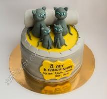 мастичный торт коты