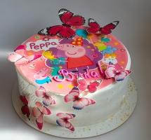 """Кремовый торт с бабочками """"Свинка Пеппа"""""""