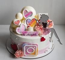 """кремовый торт с шарами """"Like"""""""