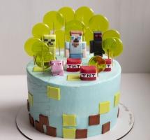 кремовый торт с леденцами Minecraft