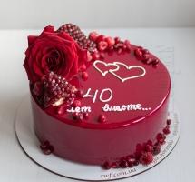 муссовый торт с розой и гранатом