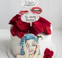 кремовый торт с розами