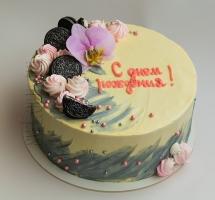 Кремовый торт с орхидеей