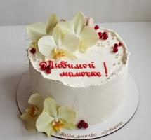 нежный торт с орхидеями