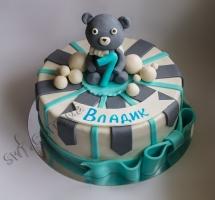 торт мастичный с мишкой