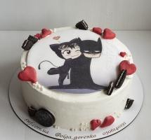 Кремовый торт с вафельной картинкой