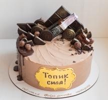 торт с бутылочкой и шоколадом