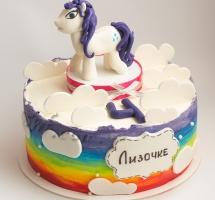 кремовый торт лошадка радуга
