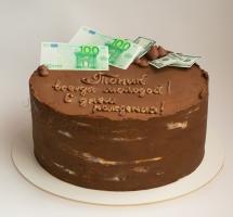 кремовый торт с купюрами