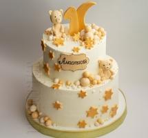 """кремовый торт """"Плюшевые мишки и звезды"""""""