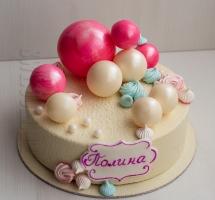 велюровый торт с шоколадными шарами