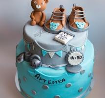 торт мастичный младенец с мишкой