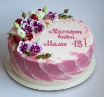 нежный торт с цветами маме