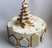 Новогодний кремовый торт