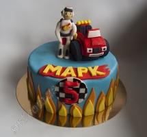 торт мастичный для детей гонщик