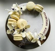 торт орхидеи с макарунами