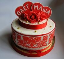 мастичный торт сердца