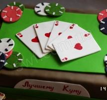 мастичный торт покер